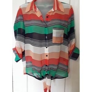 Poetry Striped Sheer Button -up